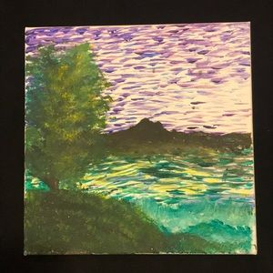 Handmade Purple Night Painting